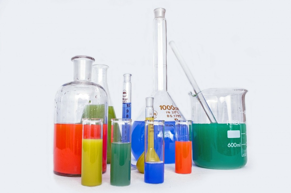 colored beakers
